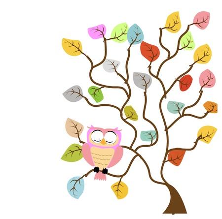 albero della vita: gufo sull'albero Vettoriali