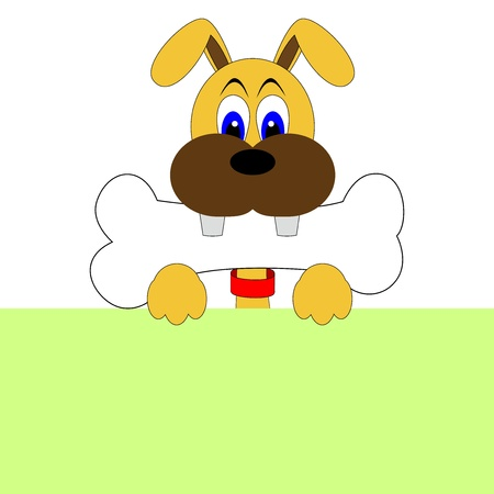 lap dog: cute dog with bone  Illustration