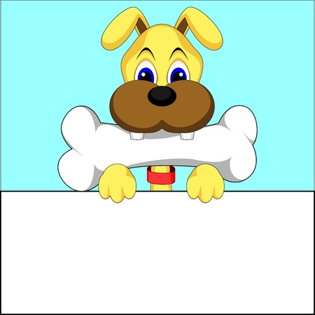lap dog: cute dog eating bone vector of illustration