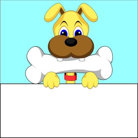 lap dog: simpatico cane mangia osso vettore di illustrazione