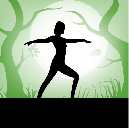 women yoga with forest background Vector