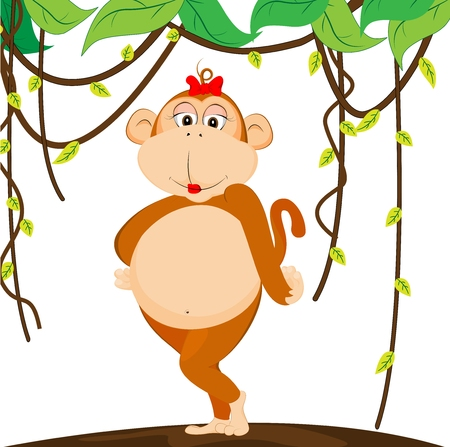 cute girl monkey Vector