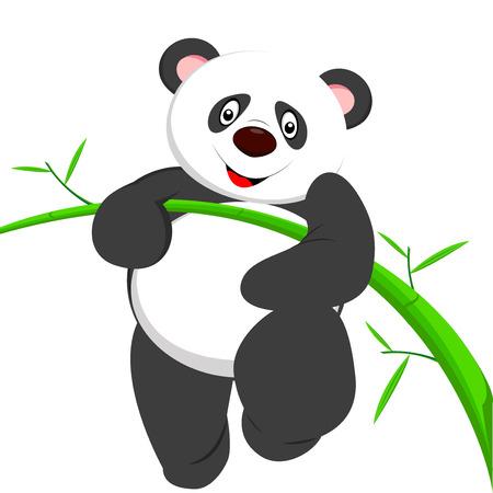 one panda: cute panda climbing bamboe