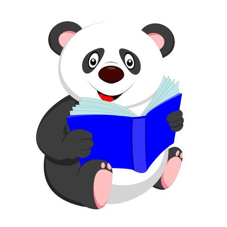 one panda: cute baby panda reading the book