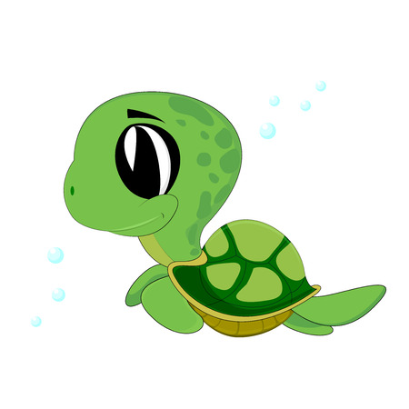 cute turtle swimming Vector