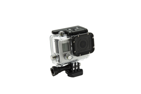 go: mini waterproof camera isolated on white background