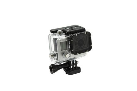 go go: mini waterproof camera isolated on white background