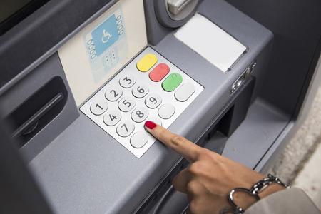 pin entry: Press ATM keyboard Stock Photo