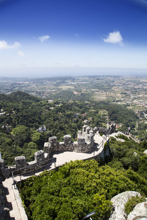 moors: View of the Moors Castle in Sintra, Portugal