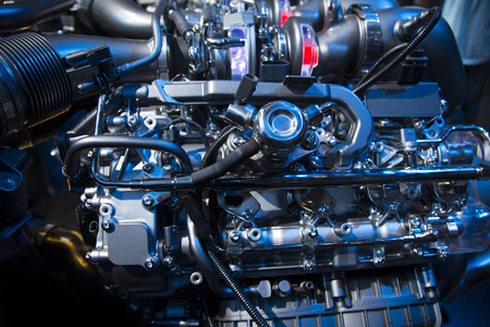 intake: The powerful engine of a modern sport car Stock Photo