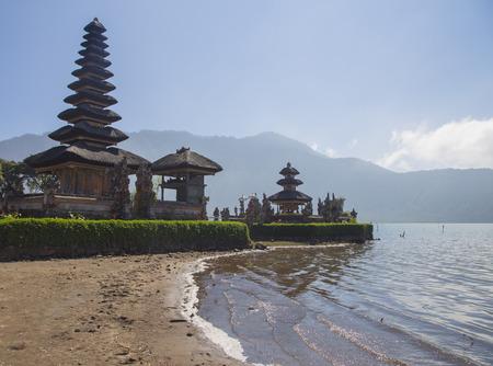 ulun: Pura Ulun Danu temple on a lake Beratan in Bali Stock Photo