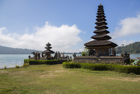 danu: Pura Ulun Danu temple on a lake Beratan in Bali Stock Photo