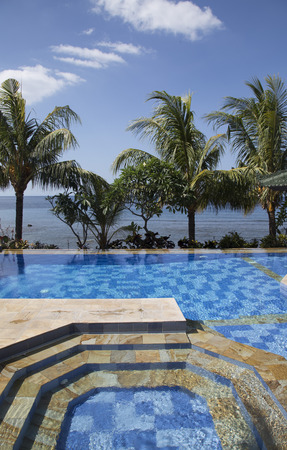 hotel indonesia: Pool of a luxury hotel in Bali, Indonesia Stock Photo
