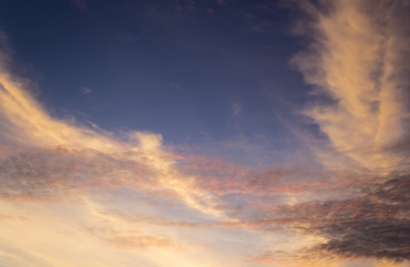 Bright orange and yellow colors sunset sky Stock Photo