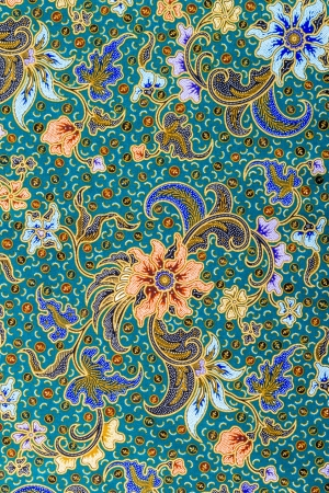 batik pattern: Close up flower pattern background on batik fabric