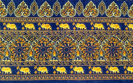 Elephant and flower with decorative pattern fabric texture