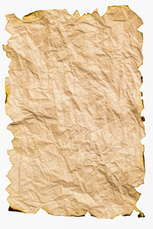 uneven edge: Burned paper with crumpled isolated on white background Stock Photo