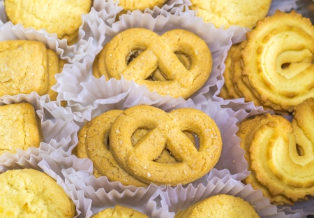 Close up many yellow cookie tasty looking Stock Photo