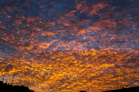 Sunset in the sky with golden clouds