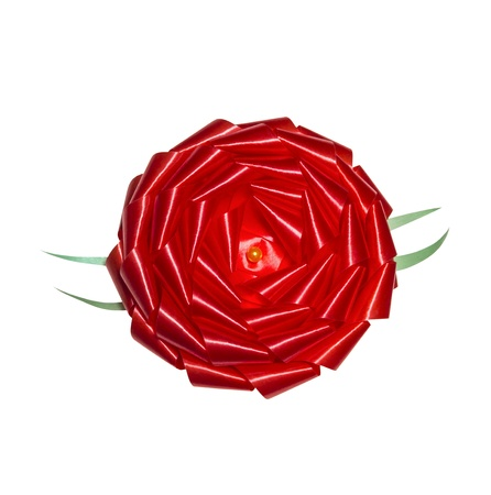Red rosette gift bow isolated on white background
