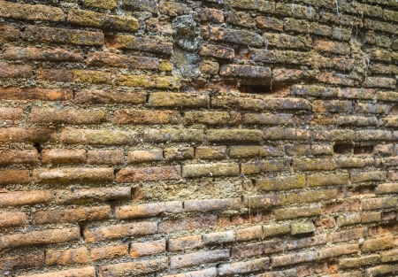 Closeup texture of old brick wall background Stock Photo