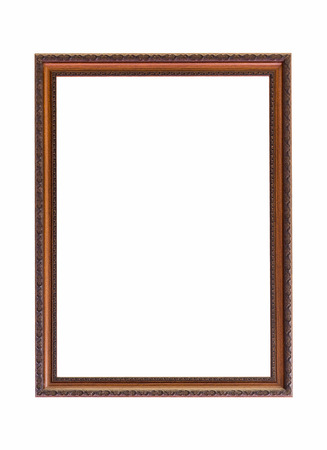Classic wooden frame  isolated on white background Stock Photo