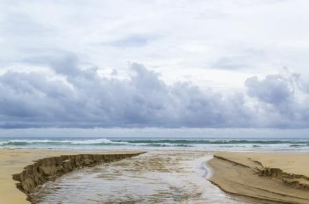 Nimbus over sea and watercourse in the beach