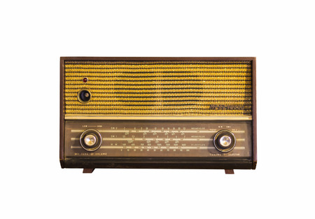 Old vintage radio isolated on white