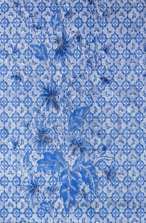 Blue flowers and laef on fabric pattern background Stock Photo
