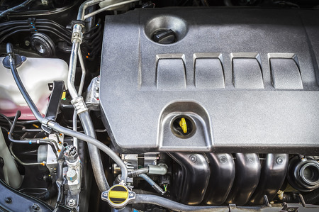 Closeup compartment of car engine under hood