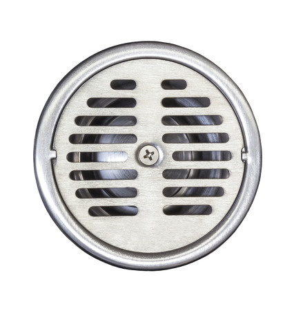 Stainless steel floor drain isolated on white with clipping path photo