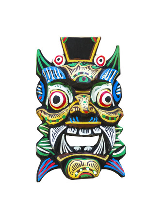 Traditional balinese mask isolated on white with clipping path