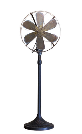 grungy isolated: Old vintage metal fan isolated on white background