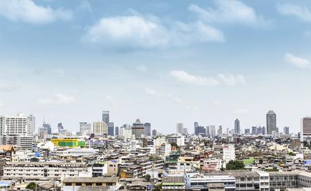 Closeup birds eye view of bangkok thailand