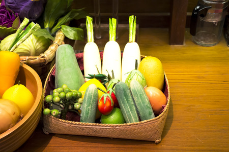 Closeup assortment of exotic fruits and vegetable in basket