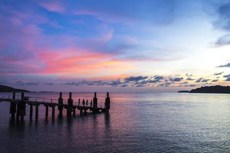 Beautiful sunset in rawai beach phuket island thailand photo