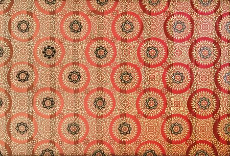 Closeup beautyful thai art pattern on ceiling thai temple