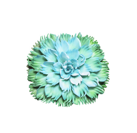 desgn: Beautiful green soap carving flower isolated on white