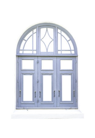 Blue classical window isolated on white with clipping path Stock Photo