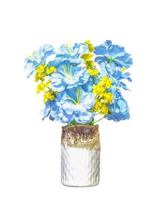 Artifical blue and yellow flowers in ceramic vase isolated on white background