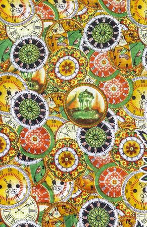 Closeup beautiful colorful detail pattern of batik fablic background Stock Photo