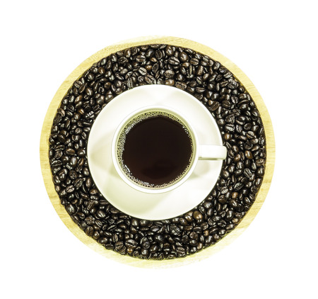 Coffee cup and roasted beans isolated on white background with clipping path