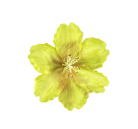 artifical: Yellow artifical flower isolated on white with clipping path Stock Photo