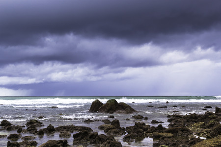 strom: Storm rain clouds over the sea background