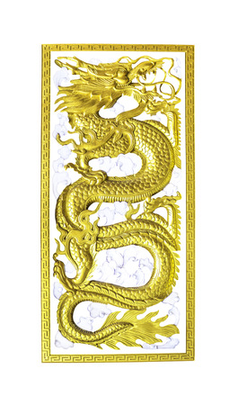 craving: Golden wooden dragon craving isolated on white background