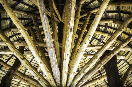 closeup wooden beam structure of gazebo ceiling Stock Photo