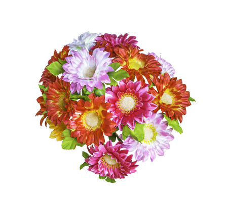 Artificial  bouguet flowers isolated on white background