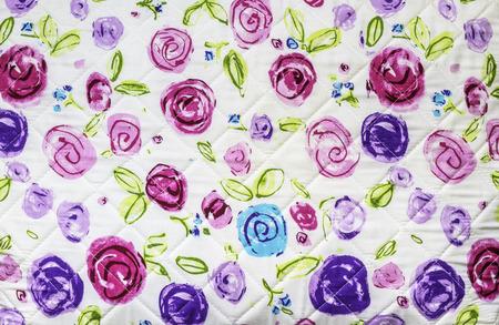 Closeup many rose flowers on fabric background Stock Photo