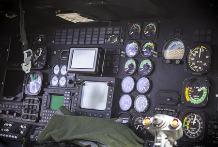 Helicoter pilot cockpit instrument and control panel