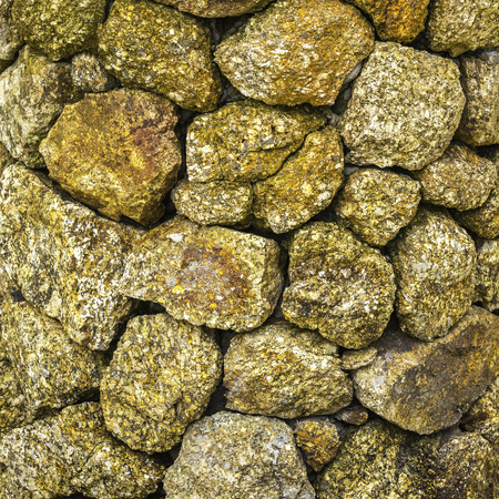Closeup pattern and texture of square nature rock wall background Stock Photo